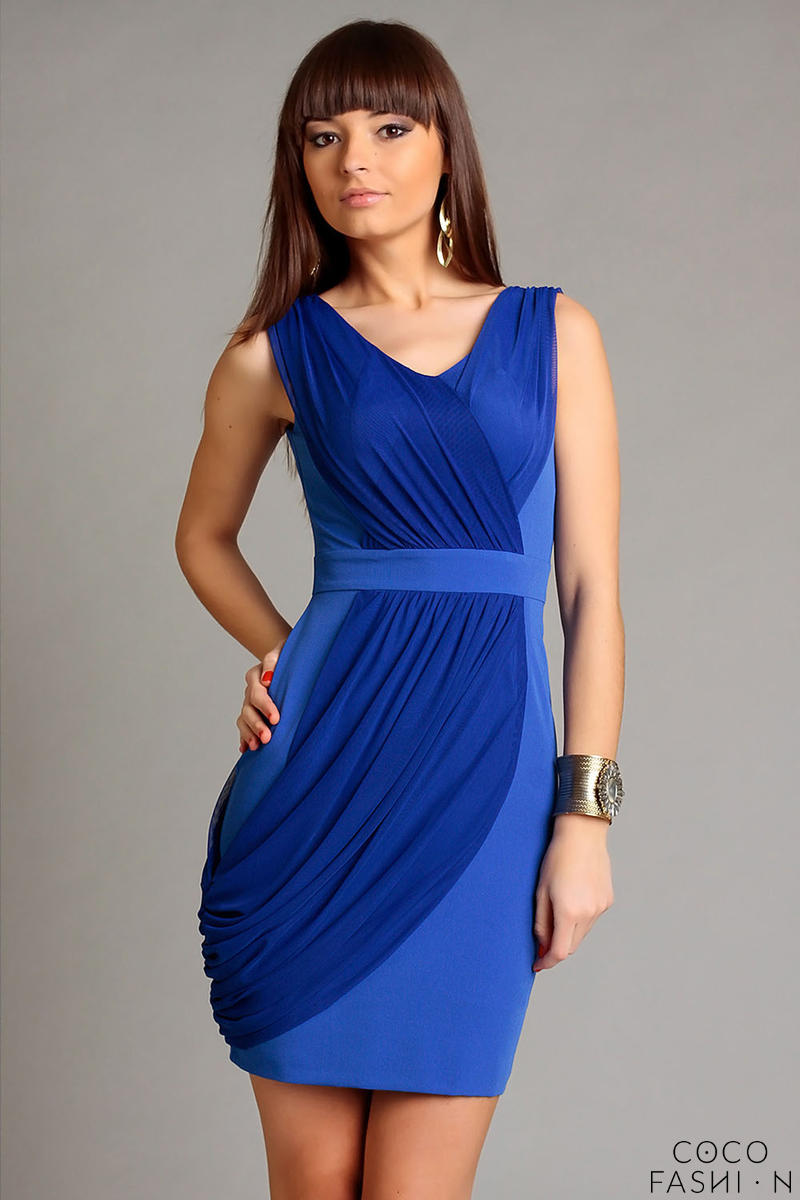 Blue Elegant Draped V-Neckline Mini Dress