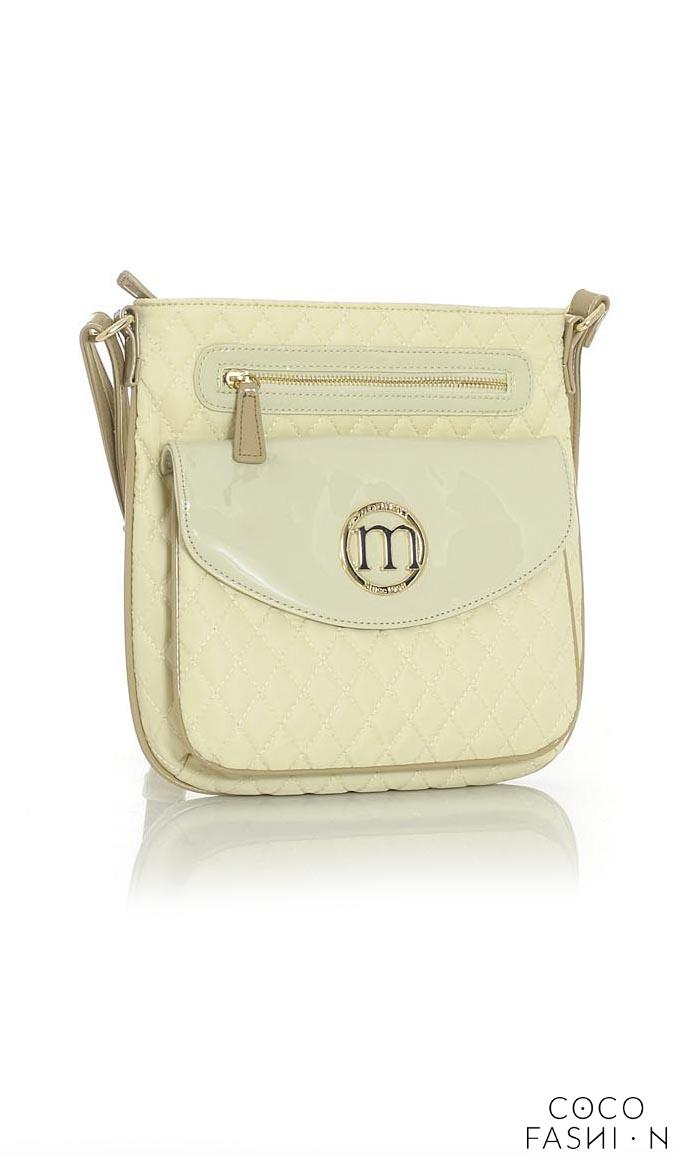 Beige Quilted&Patent Leather Long Strap Bag