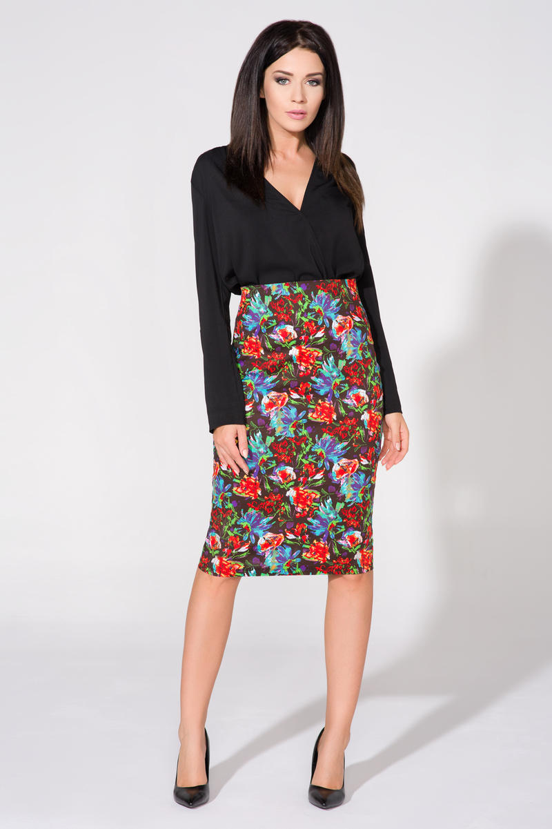 Floral Pattern Pencil Midi Skirt
