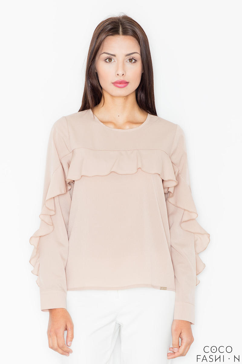 Beige Long Sleeves Blouse with a Frill