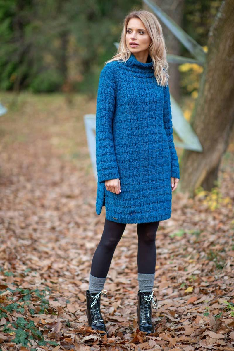 Blue Wool Sweter Dress With Turtleneck
