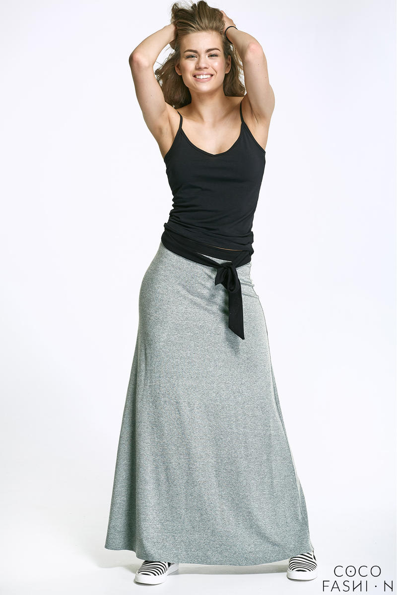 Grey Maxi Long Skirt with Self Tie Sash