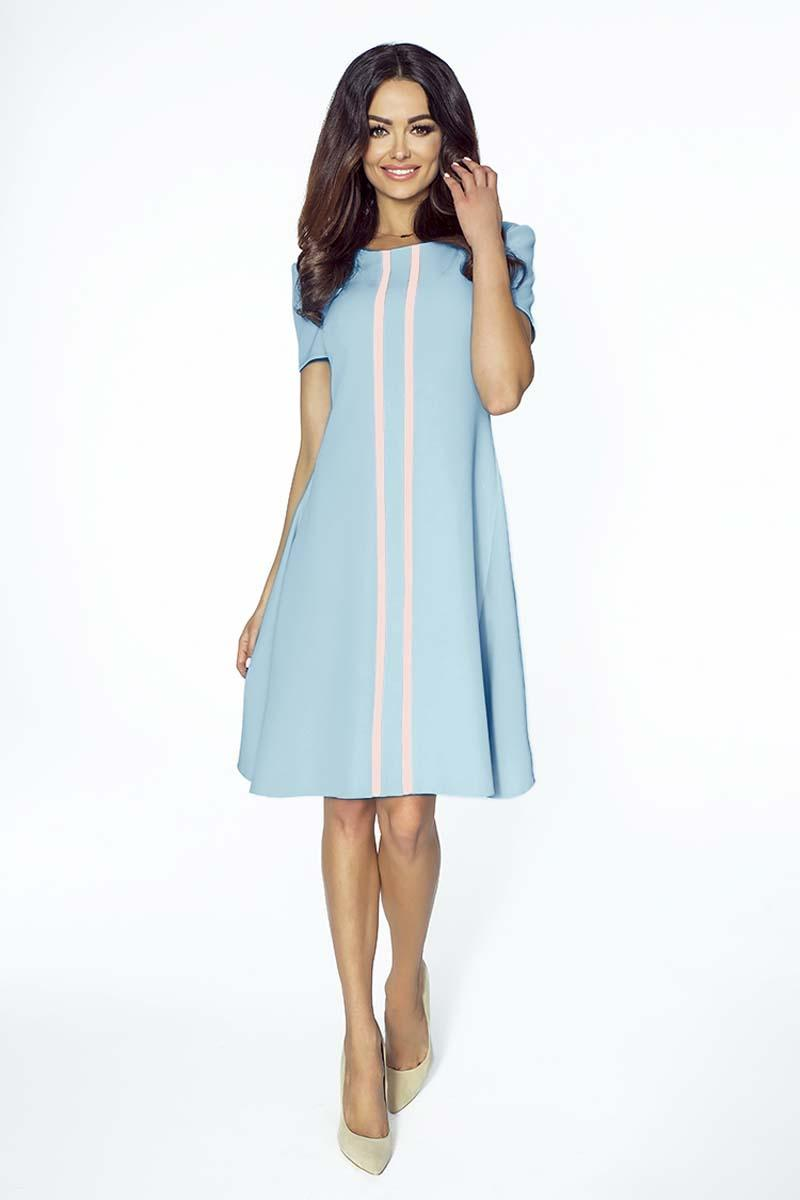 Blue Flared Dress with Contrasting Stripes