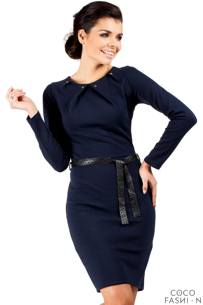 Dark Blue Pleated Neckline Shift Dress with Belt