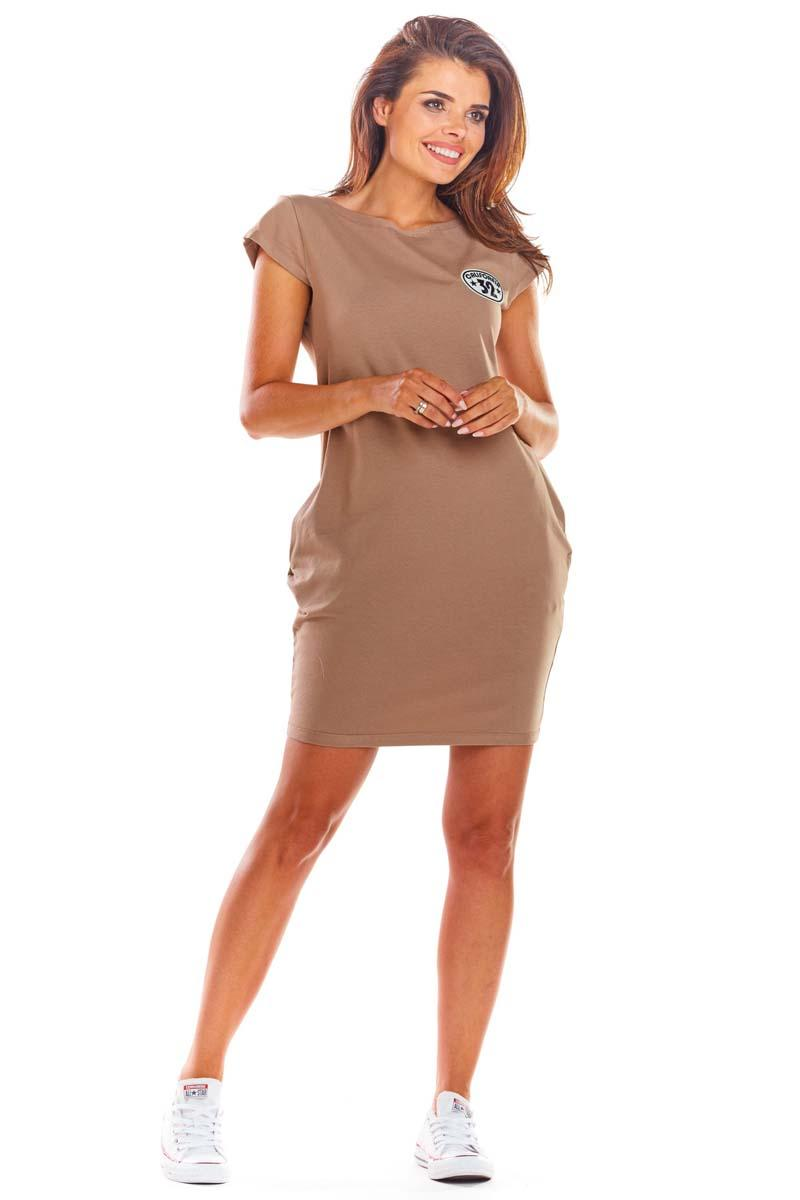Beige Knitted Mini Dress with Pockets