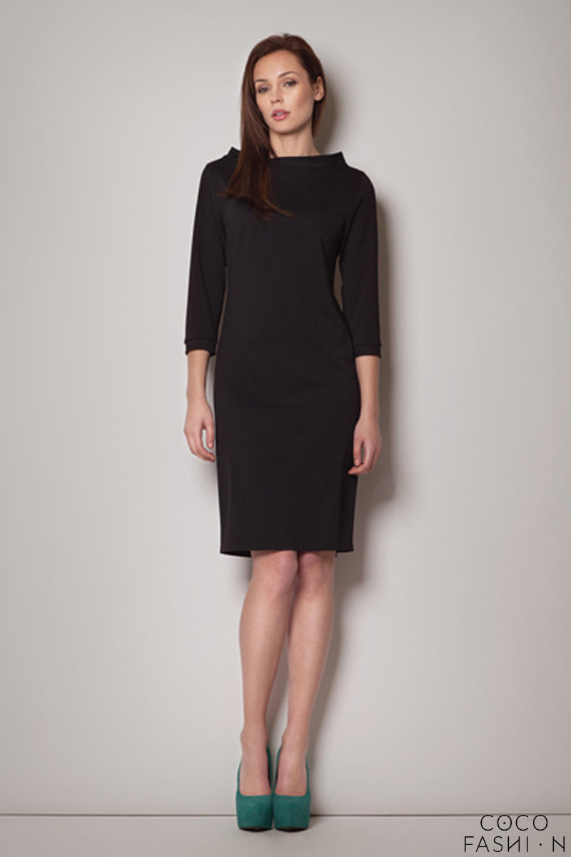 Black High Neck Textured Shift Dress with 3/4 Sleeves
