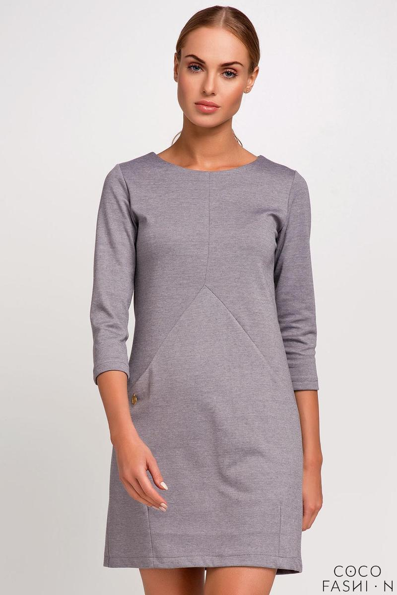 Grey Casual Mini Dress with Pockets