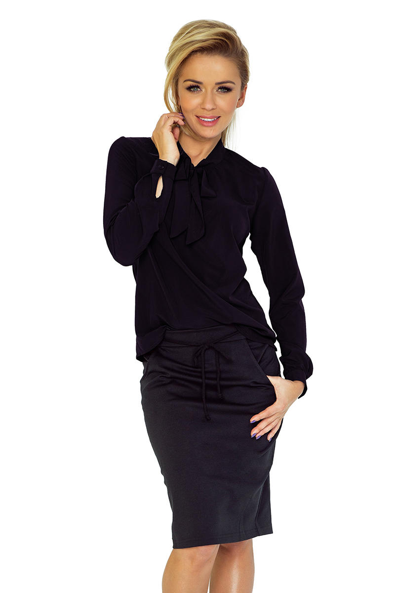 Black Shirt With Self Tie Bow