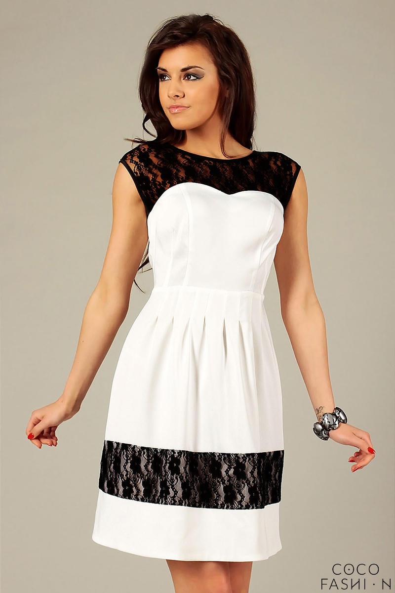 Ecru Sleeveless Coctail Dress with Lace Details