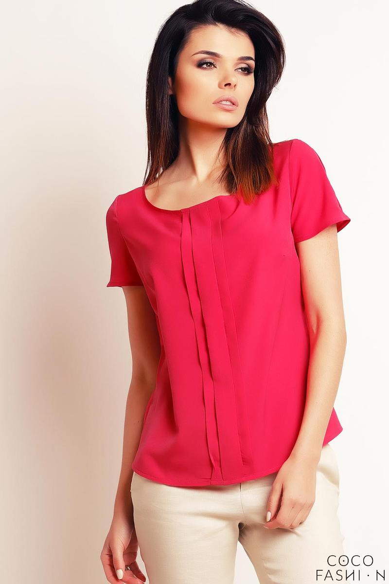 Pink Simple Round Neck Short Sleeves Blouse