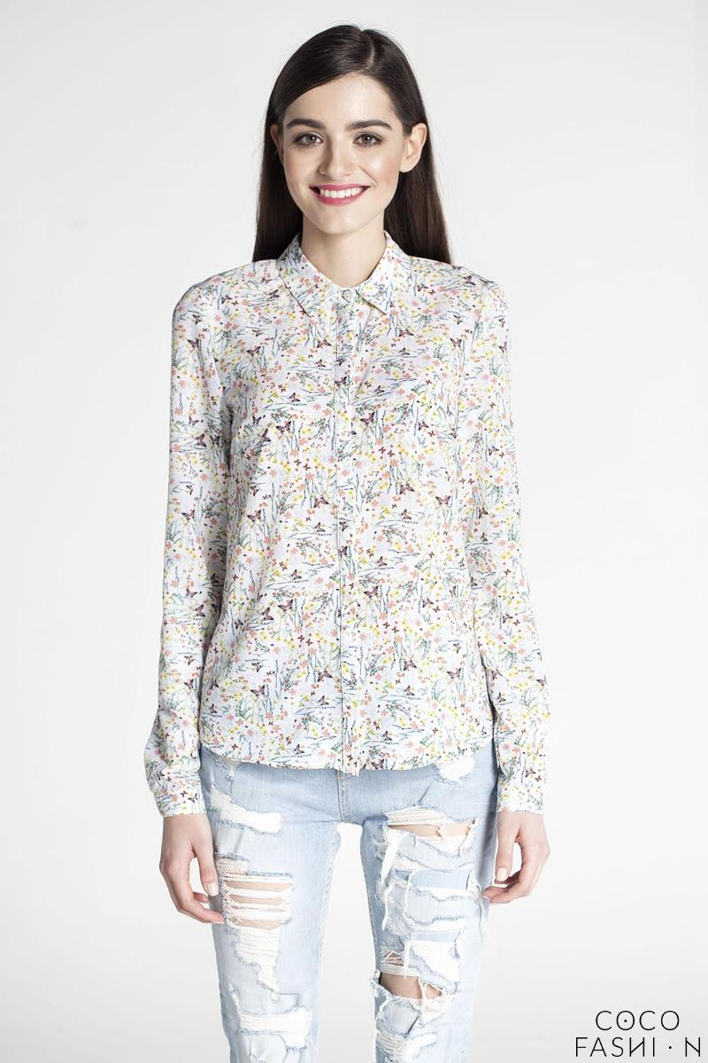 Butterfly Pattern Long Sleeves Classic Ladies Shirt