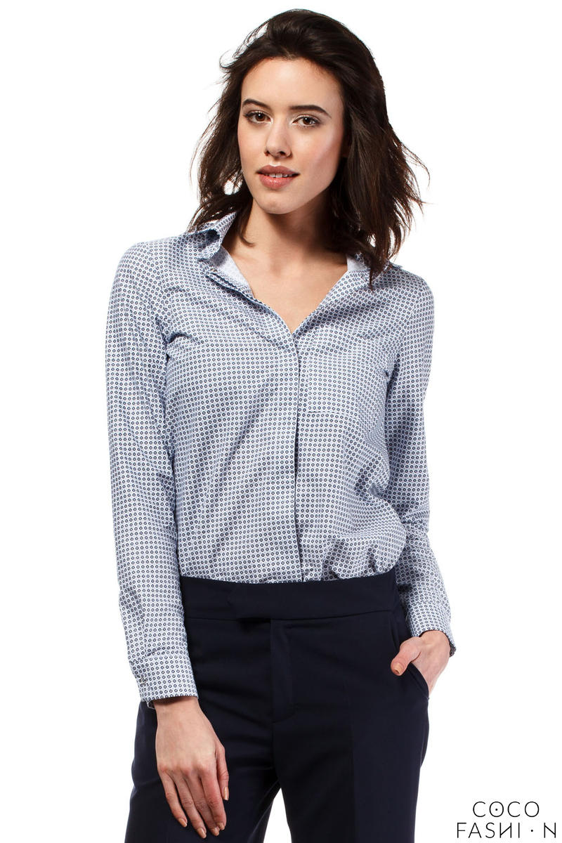 Blue Classic Long Sleeves Patterned Shirt