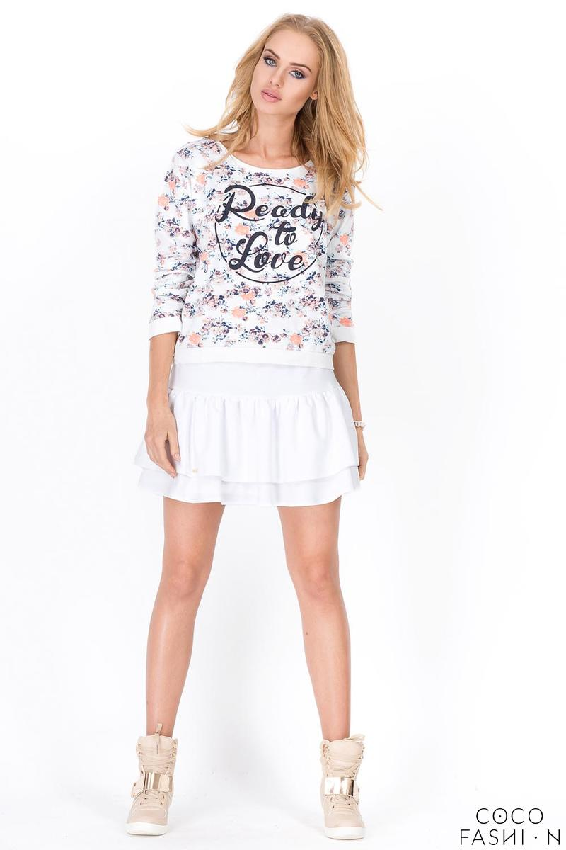 White Two Layers Frilled Mini Skirt
