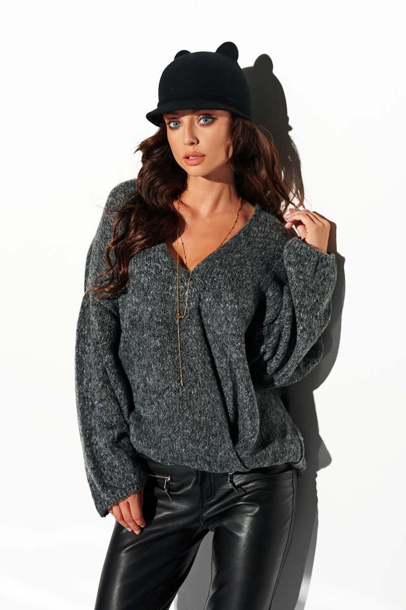Graphite Loose V-neck Sweater