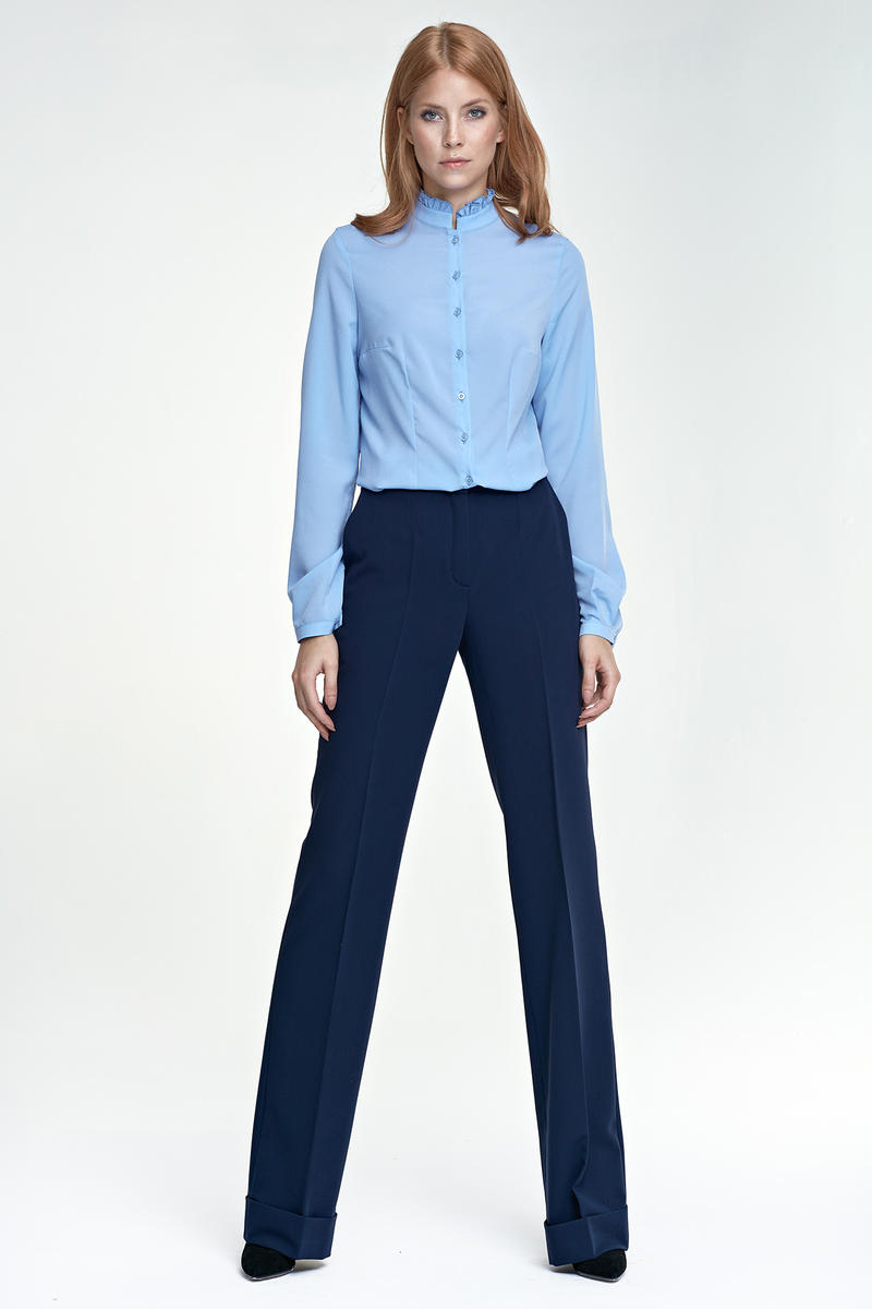 Dark Blue Elegant Office Style Pants