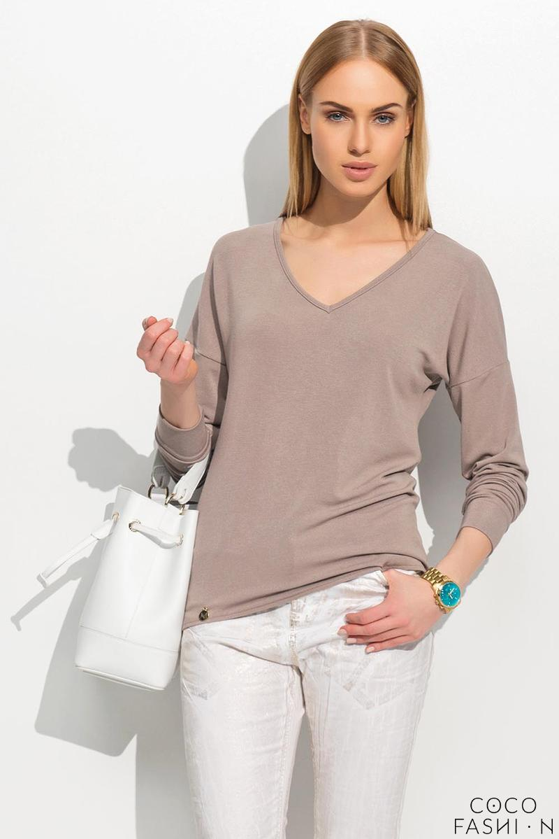 Cappuccino Loose Fit V-Neck Jumper