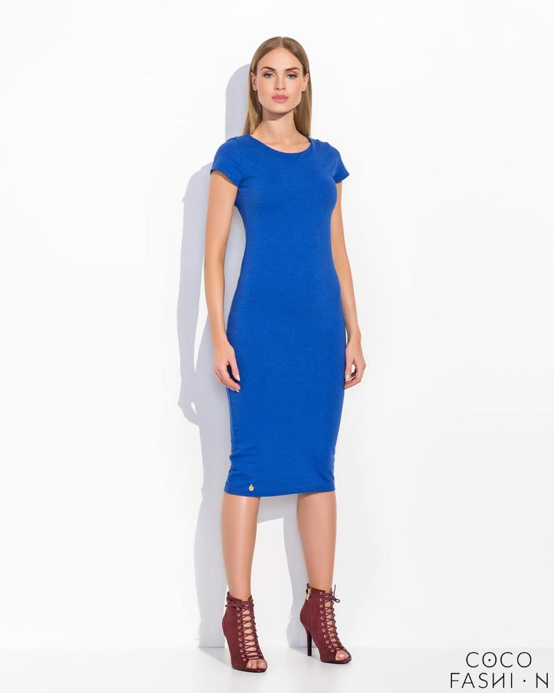 Blue Plain&Simple Casual Midi Dress