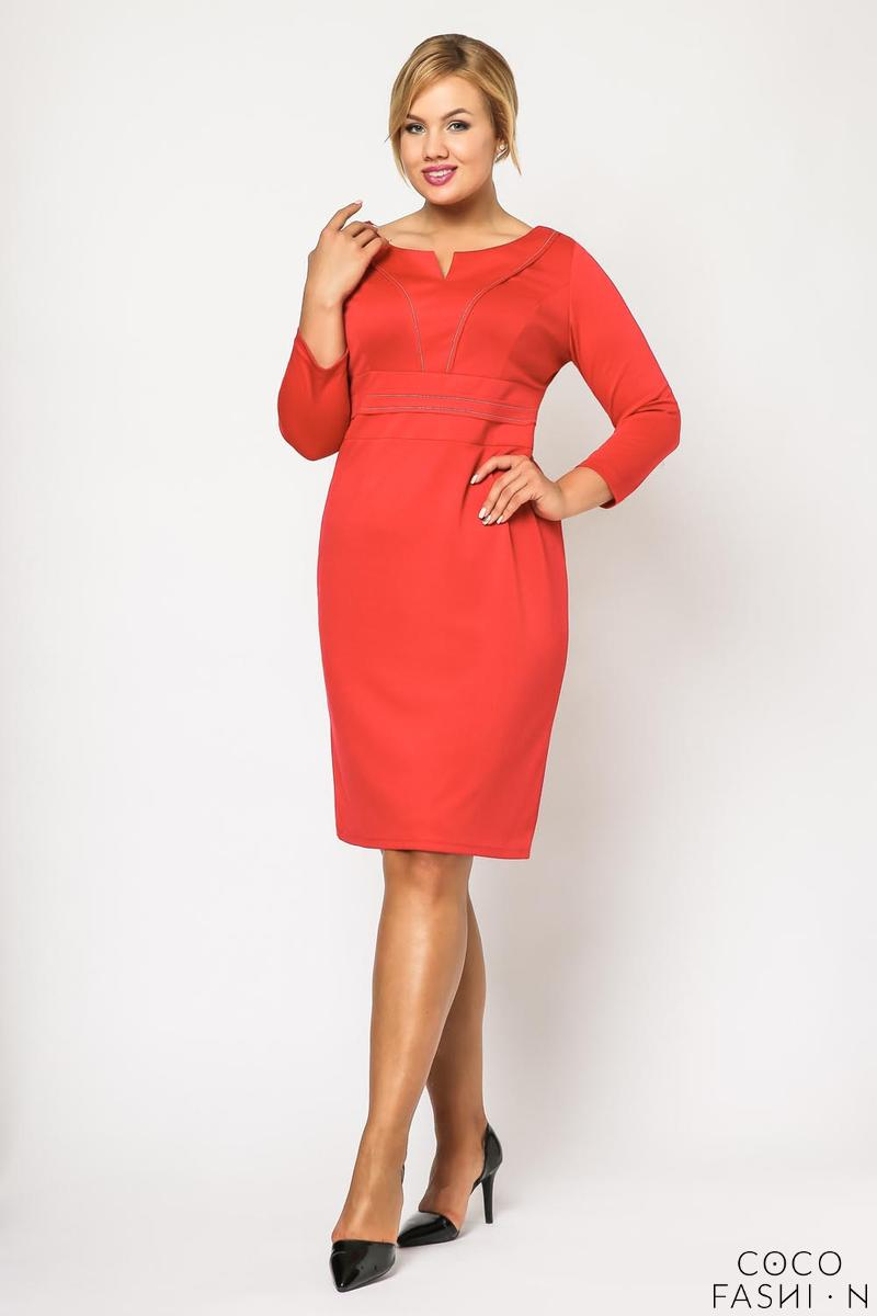 Red Classic Elegant Midi Dress PLUS SIZE