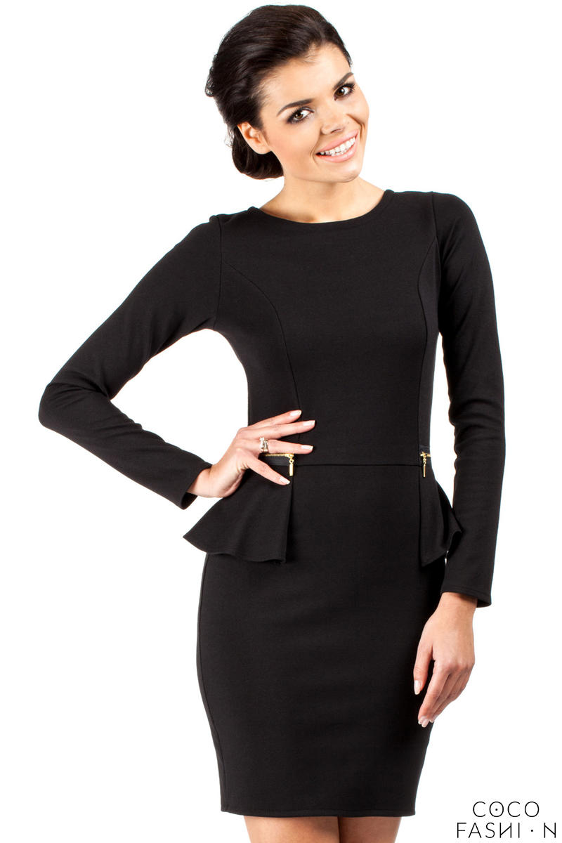 Black Seam Shift Dress with Decorative Zipper Pockets