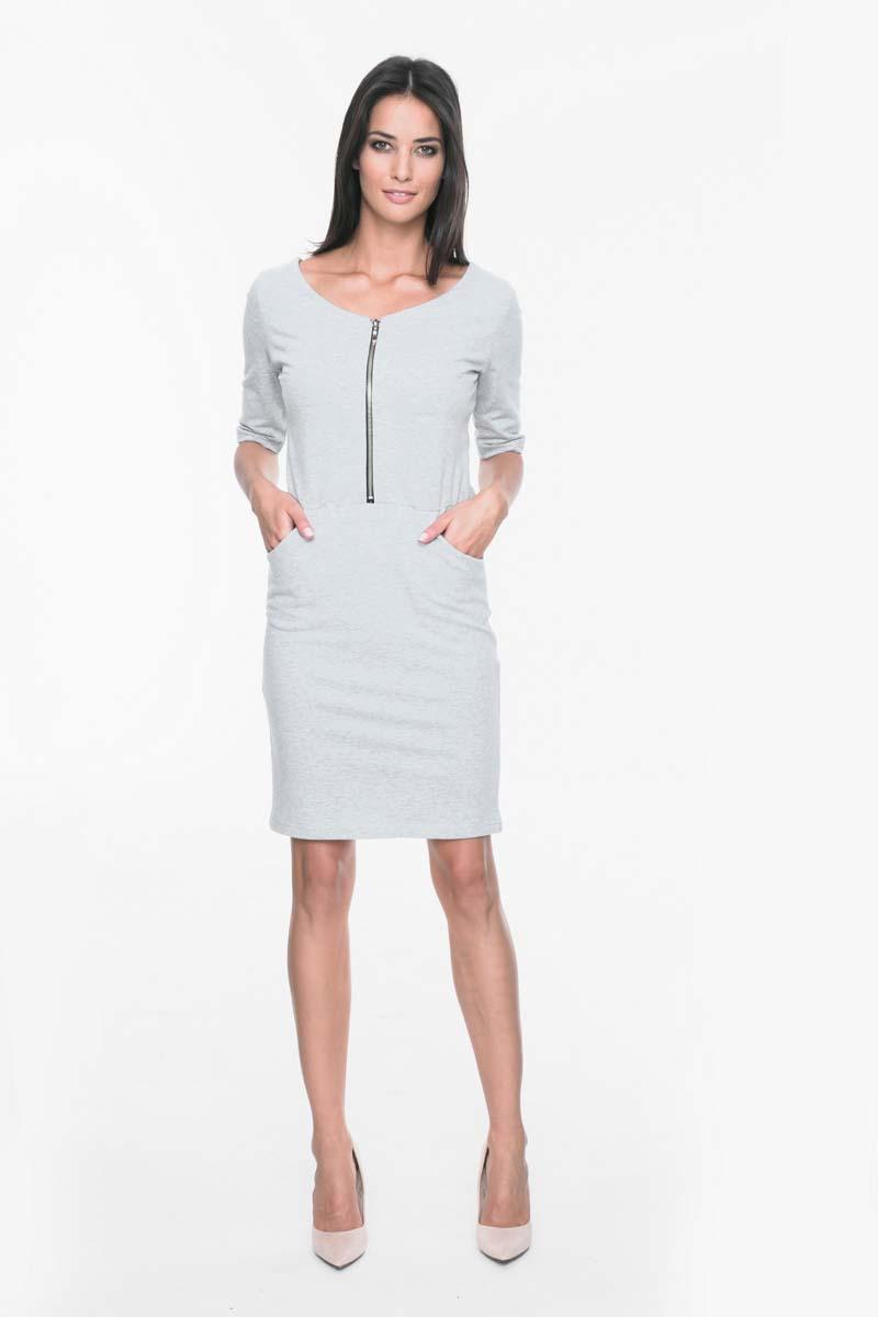 Grey Casual Dress with Front Zip