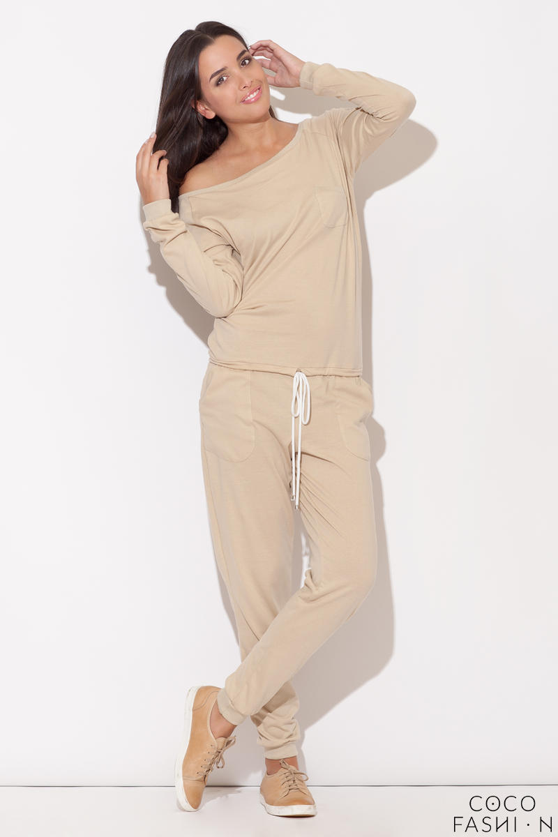 Off the Shoulder Beige Jumpsuit with Pull String Waist