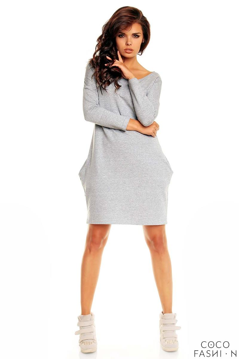 Grey Smartly Look Wiggle Long Sleeve Dress