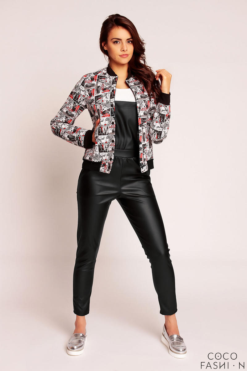 Patterned Snap Buttons Sporty Track Jacket