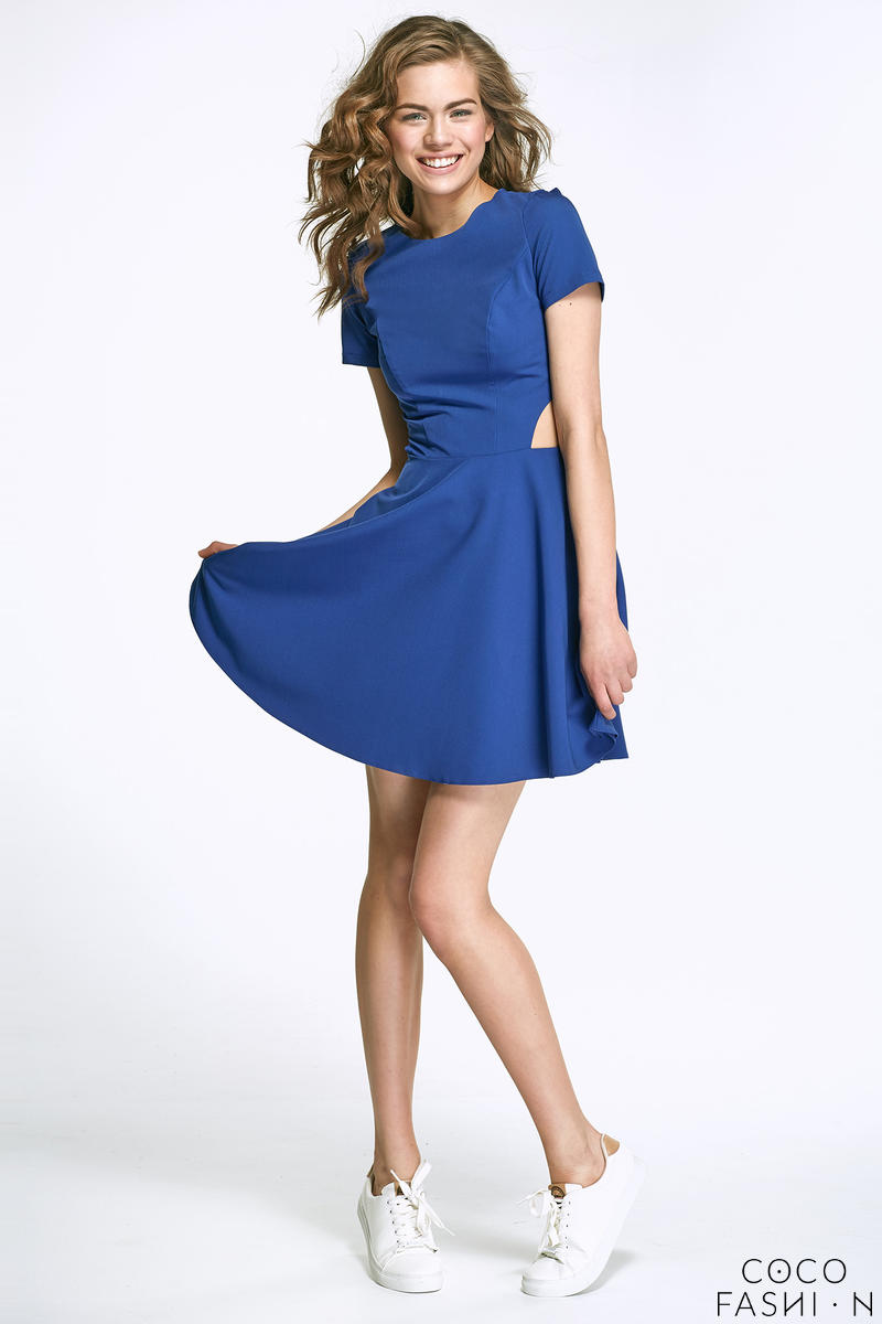 Blue Flared Mini Dress with Cut out Sides