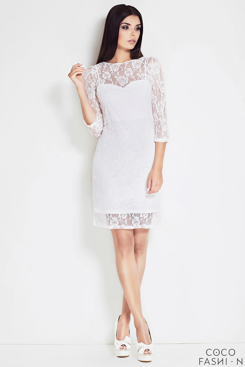 Off White Floral Lace Shift Dress with 3/4 Sleeves