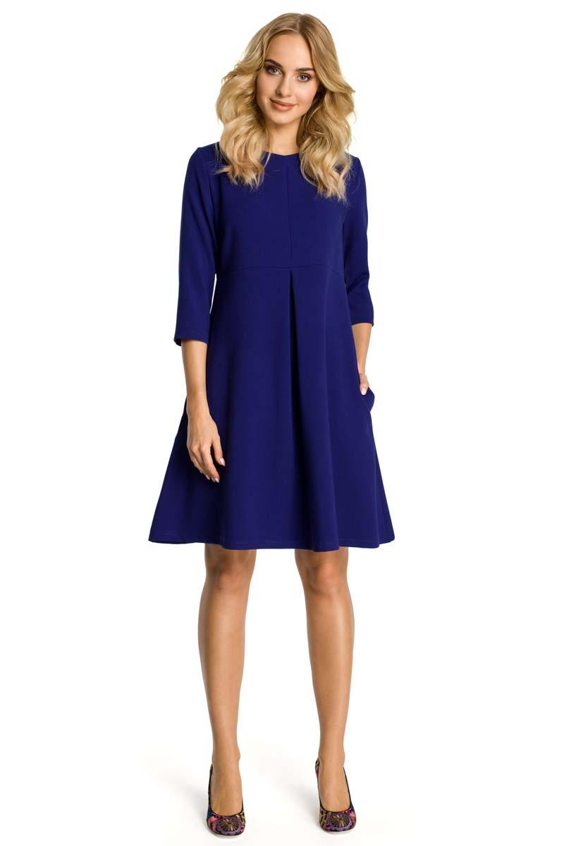 Blue Flared Dress with Front Doublefold