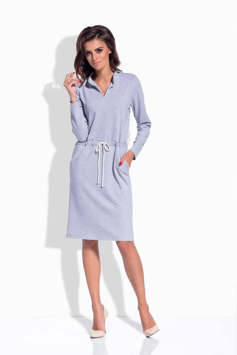 Light Grey Shirt Collar Casual Midi Dress