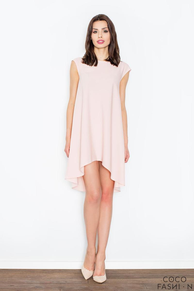 Light Pink Asymmetric Hem Romantic Swing Dress