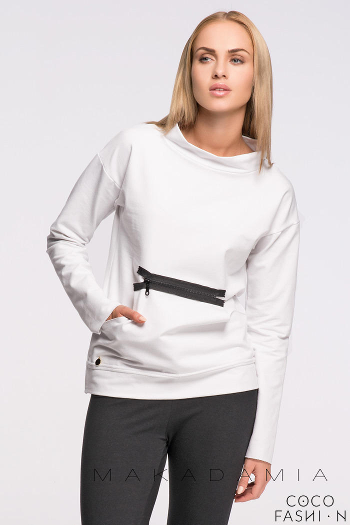 White Kangaroo Front Pocket with a Zip Sweatshirt