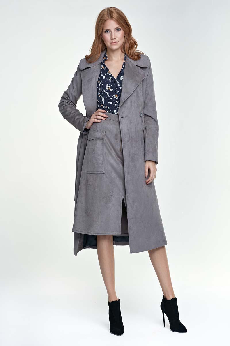 Grey Classic Elegant Belted Coat