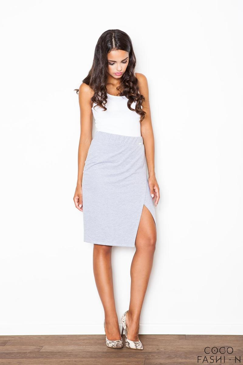 Grey Kneelenght Skirt with Asymmetrical Slit