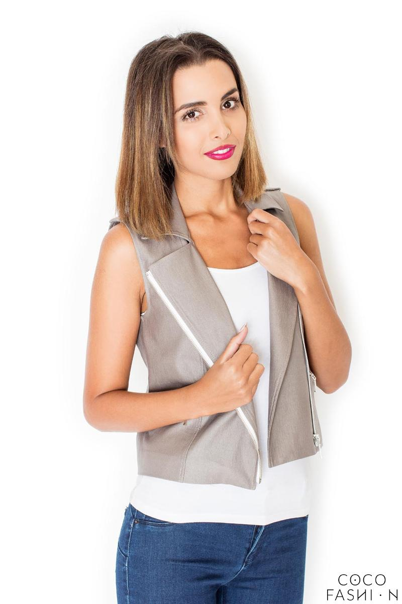 Beige Asymetrical Zip Closure Vest Blouse