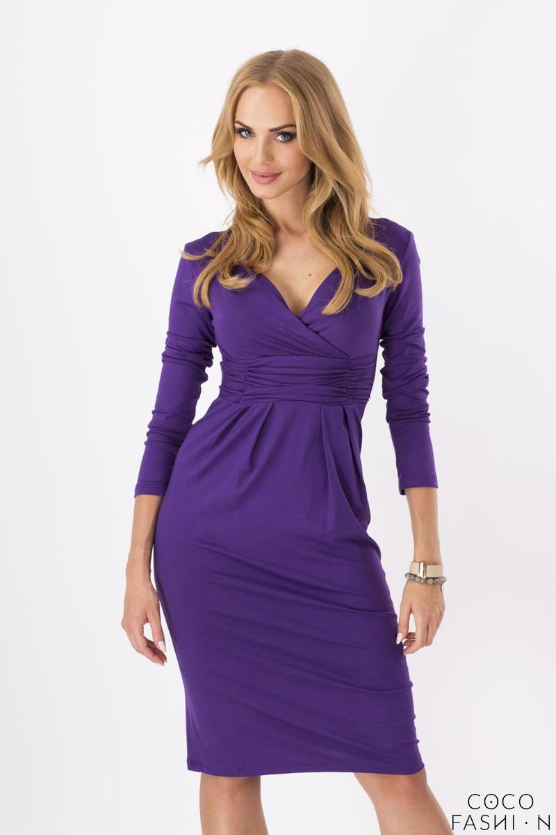 Purple Elegant V- Neck Dress