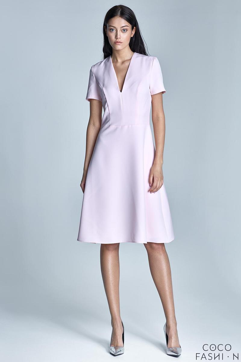 pink-elegant-v-neck-midi-dress