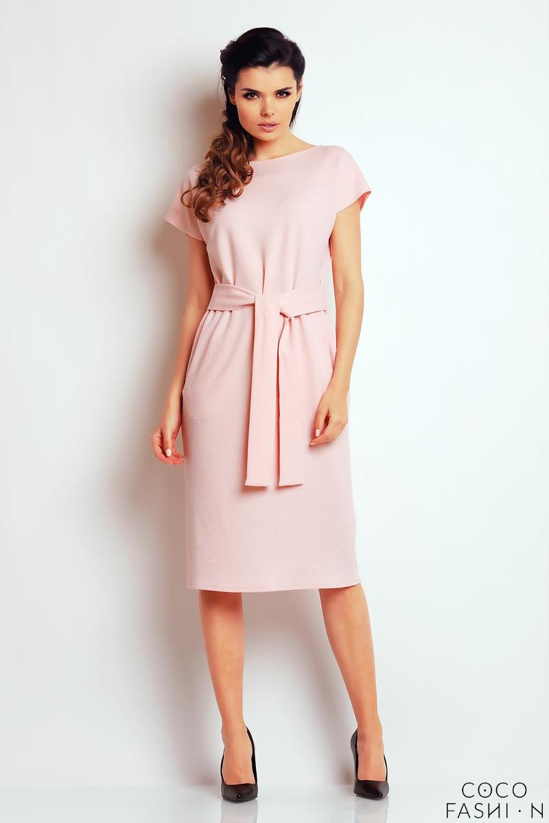 light-pink-classic-belted-midi-dress
