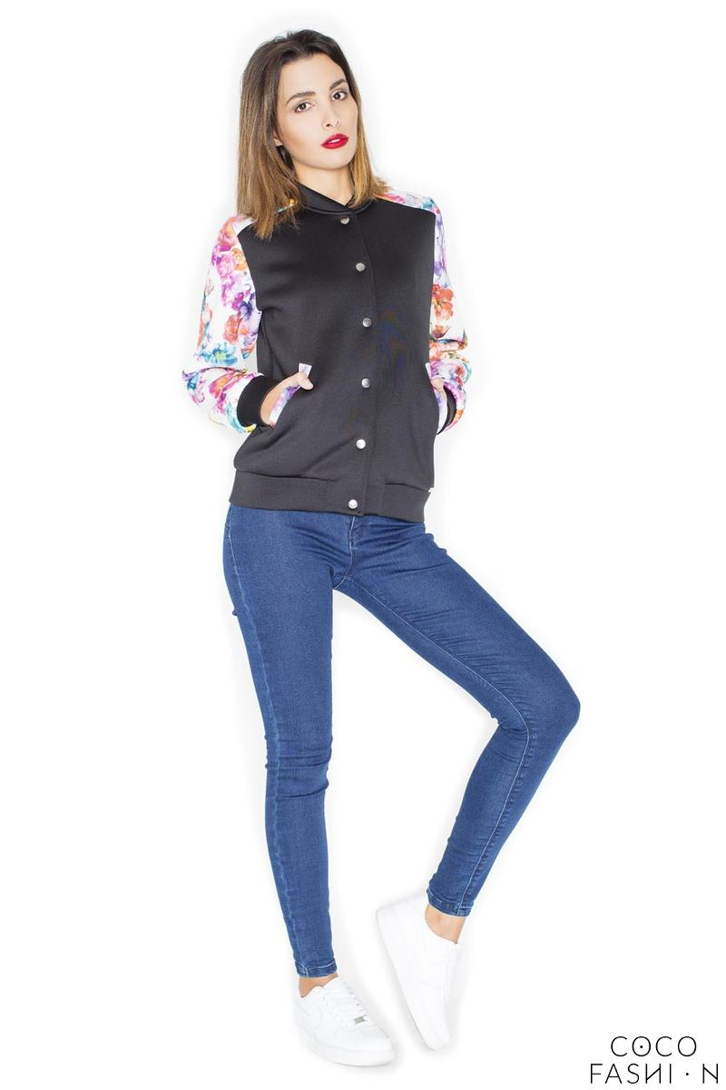 Black Short Bomber Jacket with Floral Sleeves