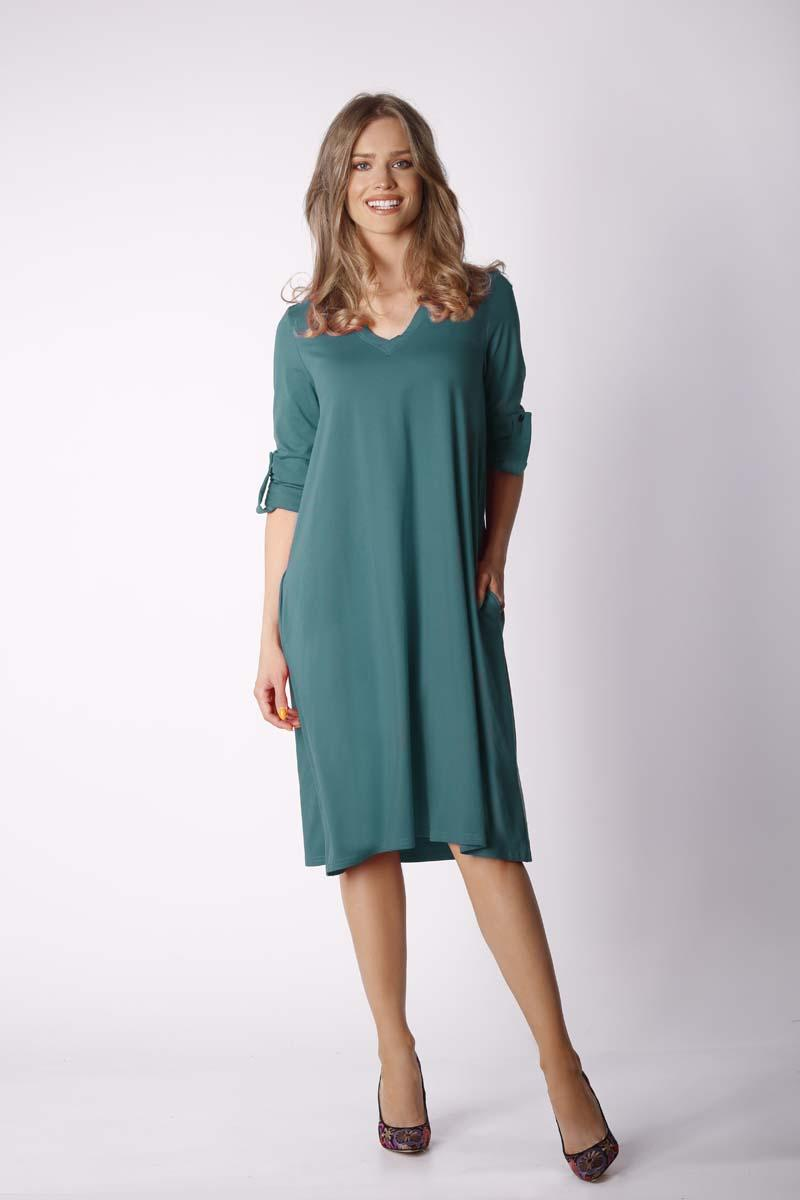 Green Loose Knitwear Dress with V-neck