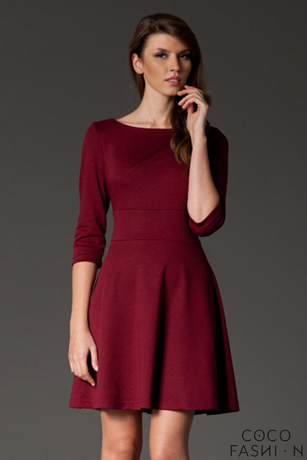 maroon-giggly-fashion-flared-skirt-dress