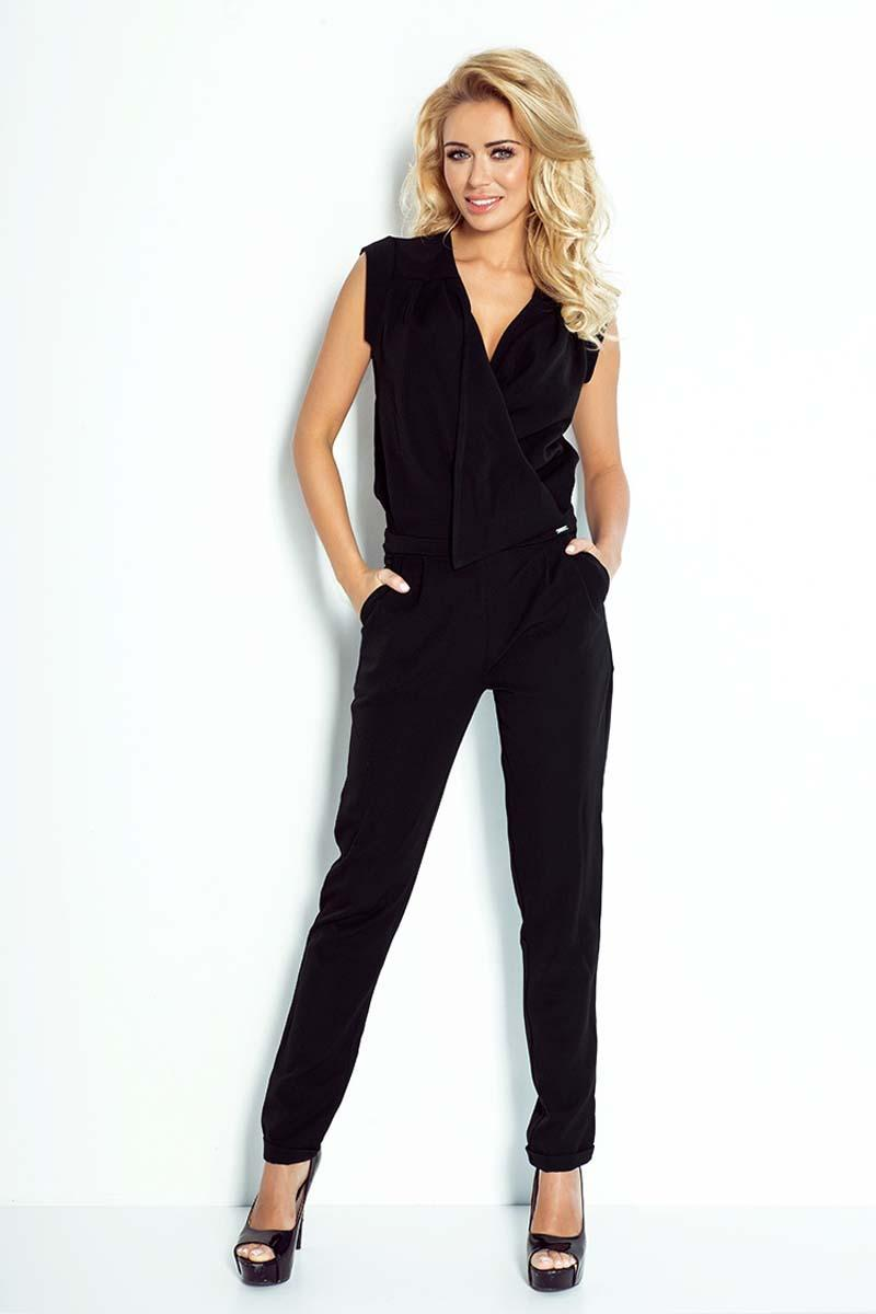 Black V-Neckline Elegant Ladies Jumpsuit