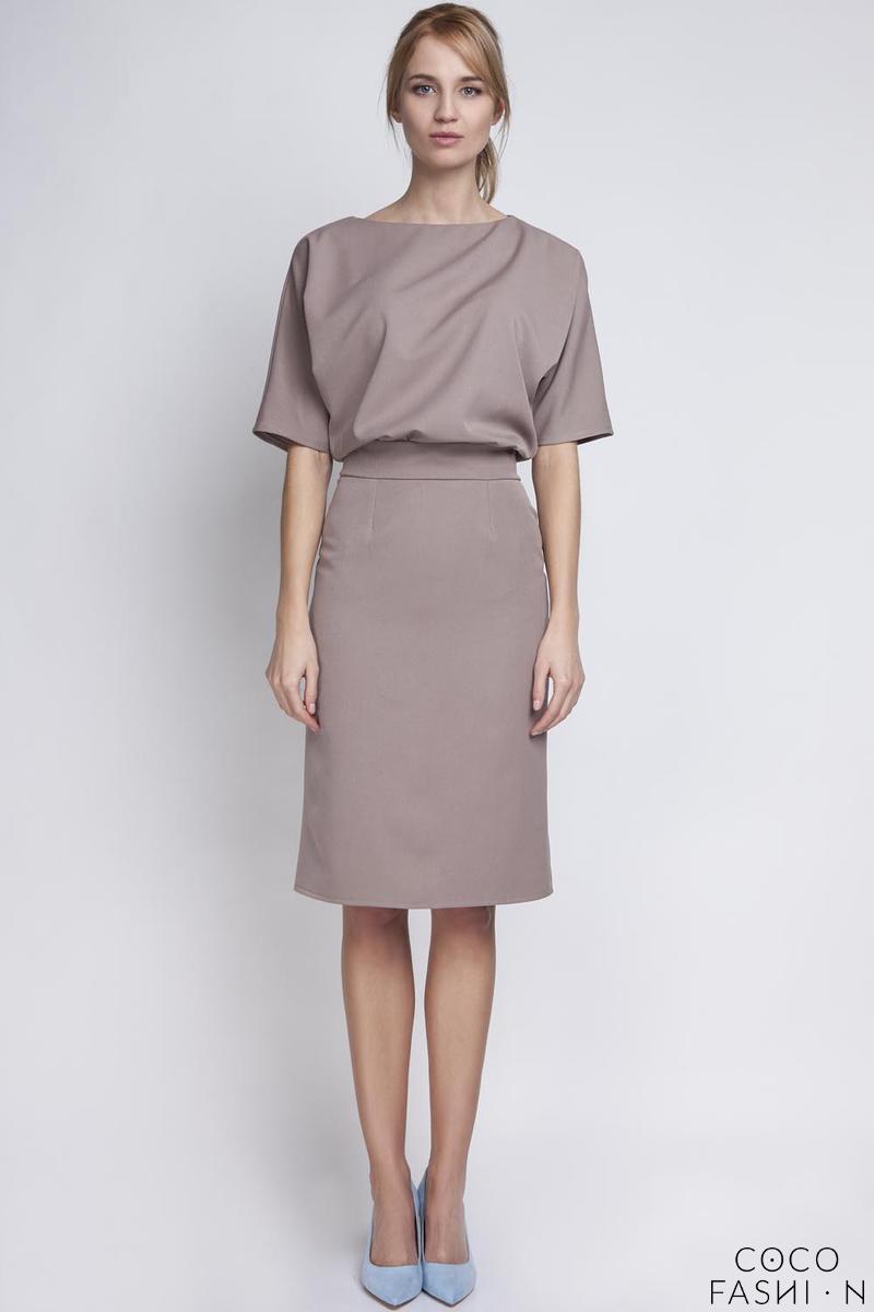 Beige Elegant Pencil Skirt 1/2 Sleeves Dress