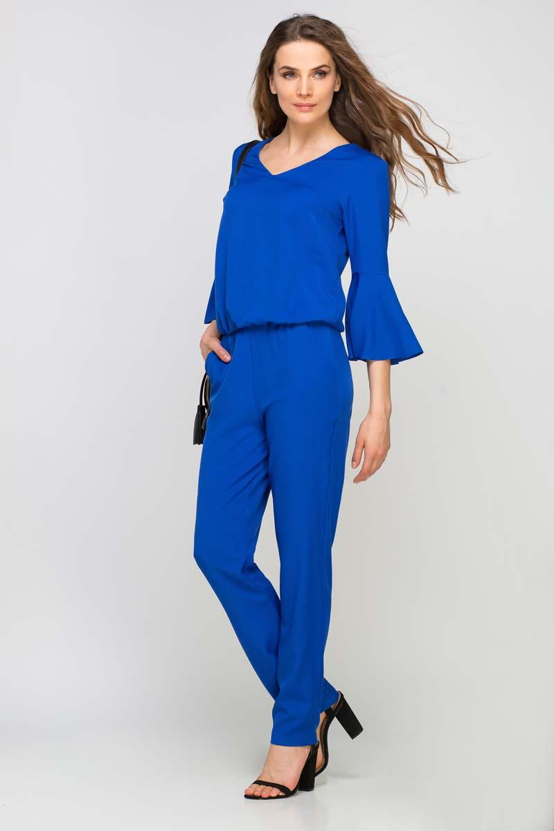 Cornflower Blue Elegant Jumpsuit with Flared Cuffs