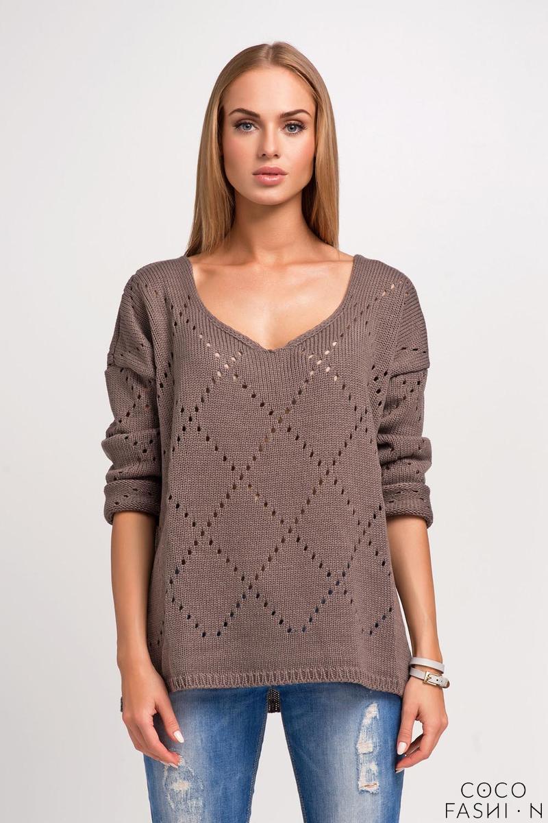 Cappuccino Ajure Pattern Oversize Sweater от cocofashion