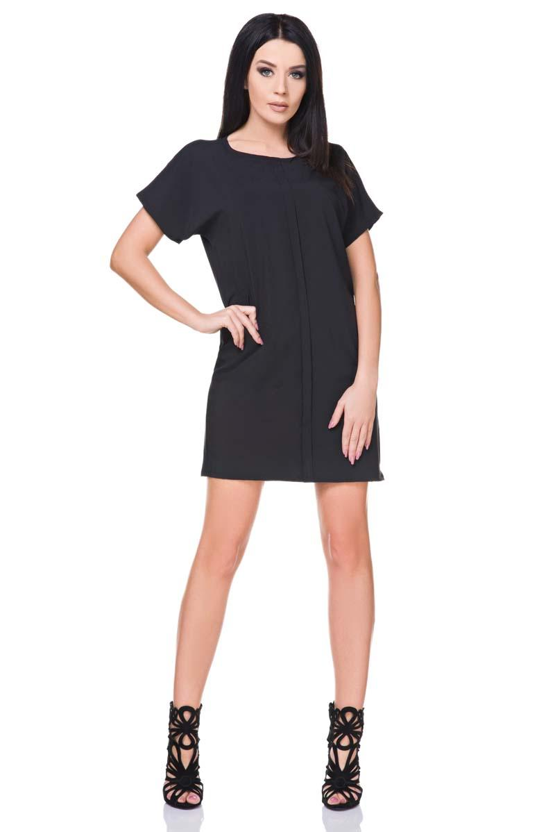 Black Simple Short Sleeves Mini Dress