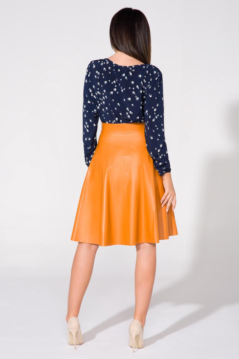 musttard flared midi eco leather skirt