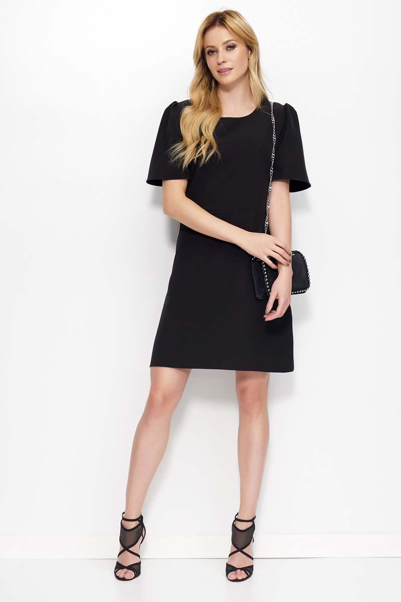 Black Flared Mini Dress with Short Sleeves