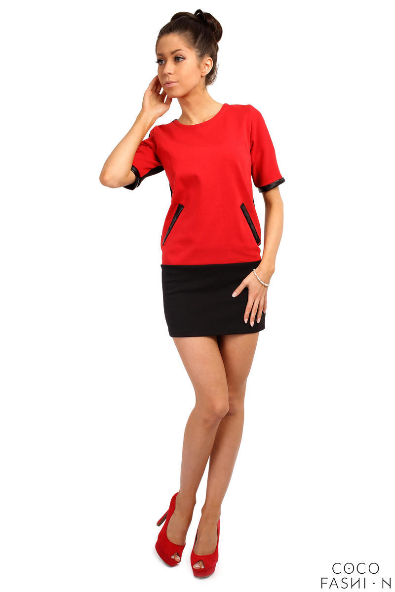 Red/Black Millennium Trend Straight Cut Tunic